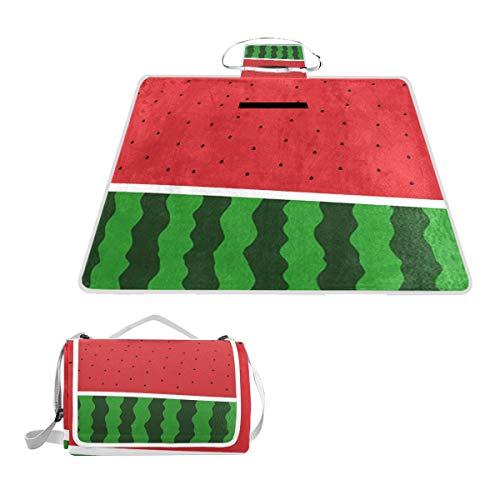 LZXO Jumbo-Picknickdecke, faltbar, Wassermelonen-Muster, groß, 145 x 150 cm, wasserdicht, handliche Matte, für Outdoor-Aktivitäten, Camping, Wandern.