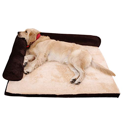 Deluxe Extra Large Memory Foam Dog Sofa Mattress Bed Fleece for Large Dogs, Using Solid 5CM Memory Foam, Detachable And Washable,Brown,XL
