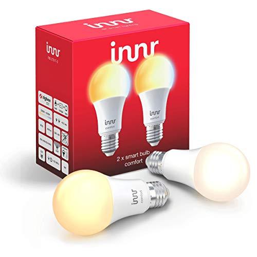Innr E27 ampoules LED connectée Blanc réglable, 2200K - 5000K, Philips Hue* & Alexa compatible (hub connecté requis) 2-Pack, RB 278T-2