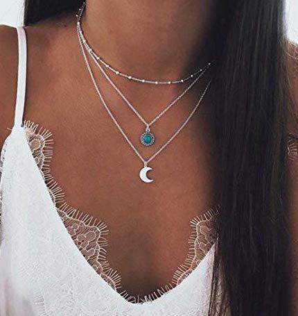Jovono Bohemian Multi - Collar múltiple con colgantes de luna y piedra, para mujeres y chicas