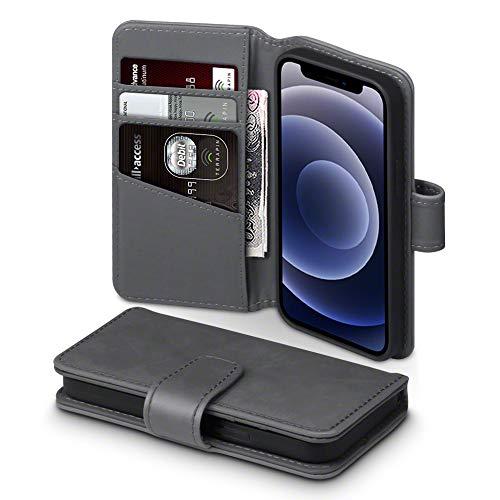 TERRAPIN, Kompatibel mit iPhone 12 Mini Hülle, [ECHT Leder] Brieftasche Hülle Tasche mit Standfunktion Kartenfächer & Bargeld - Grau