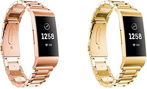 Reemplazo Correa de Reloj Compatible con Fitbit Charge 4 / Charge 4 SE/Charge 3 SE/Charge 3, Acero Inoxidable Cepillado con Extremo Recto y Curvado (Pattern 1+Pattern 2)
