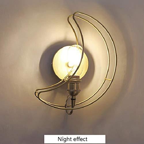 Lámpara de noche dorada con forma de luna, moderna lámpara de pared para dormitorio, pasillo de hierro, decoración sin bombilla