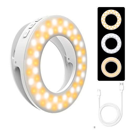 Selfie Ring Light, etache Luce per Selfie 3 modalità Luce 4 Livelli di Luminosità 60 LED con USB Ricaricabile Clip sulla Telecamera a LED per Youtube, Trucco, Streaming dal Vivo, Fotografia,Tiktok