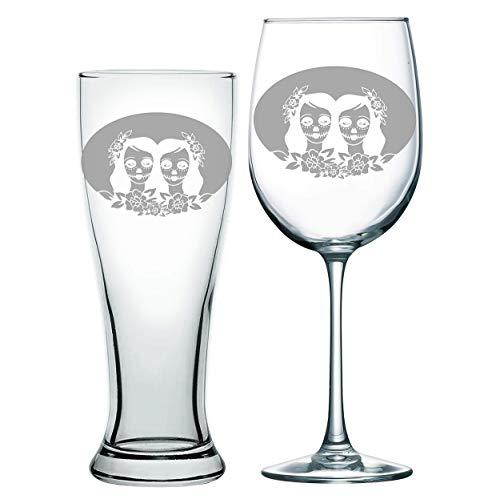 Same Sex Wedding, Lesbian wedding, Toasting glasses, Beer glasses, beer ceremony, Same Sex wedding, Mrs and Mrs, Sugar skull, off beat bride, Dia de los muertos, Skull wedding, Toasting glasses