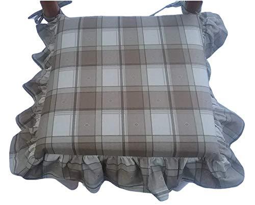 mauro Cuscini sedie Cucina-Set 4 Pezzi-Imbottitura Multistrato-con Volant-con Zip-con Laccetti-Tessuto 100% Cotone Pesante-Misura 39x39x5 cm Tortora