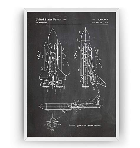 NASA Space Shuttle 1975 Patent Poster - Science Print Gift Astronaut Vintage Blueprint Outer Spaceship Aerospace Wall Art Bedroom Decor Merchandise Rocket Antique - Frame Not Included