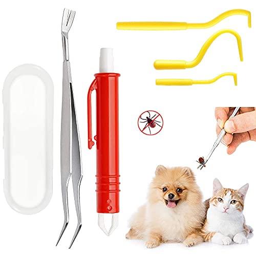 VZATT Zeckenzange, 5 Stück Zeckenentferner Set für alle Zecken-Größen, Kunststoff Zeckenzange Edelstahl Zeckenpinzette Tick Remover Kit Zeckenentfernung Zeckenhebel für Menschen Hunde und Katzen