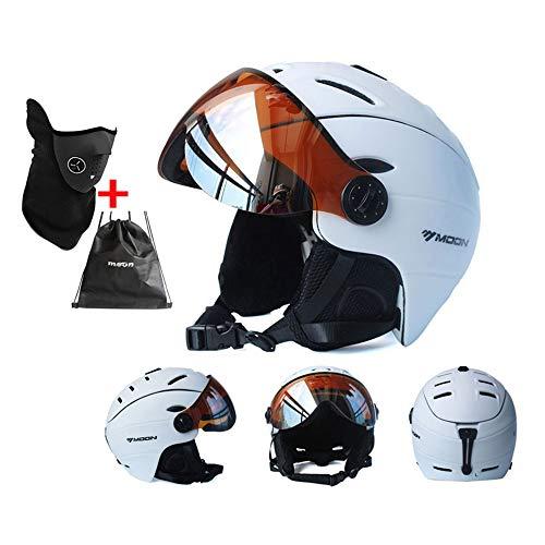 Skihelm met vizierbril, integraal gevormde sneeuwsporthelm, Adult lichtgewicht converteerbare sneeuwscooterhelm voor dames en heren