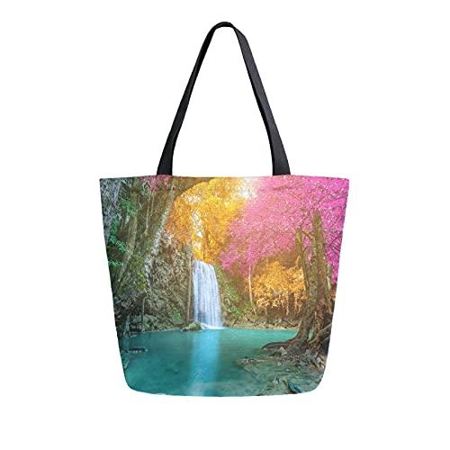 SunsetTrip - Bolsa de lona para mujer, diseño de cascada, otoño, selva, flor, bolsa de compras, reutilizable, grande, bolsa de compras con bolsillo interior