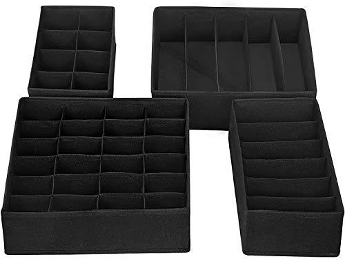 Onlyup 4 unidades de armario organizador cajones plegable caja de almacenamiento de plástico para sujetadores, ropa interior, calcetines, corbatas, organizador Drawer Divider Cubes Container (negro)
