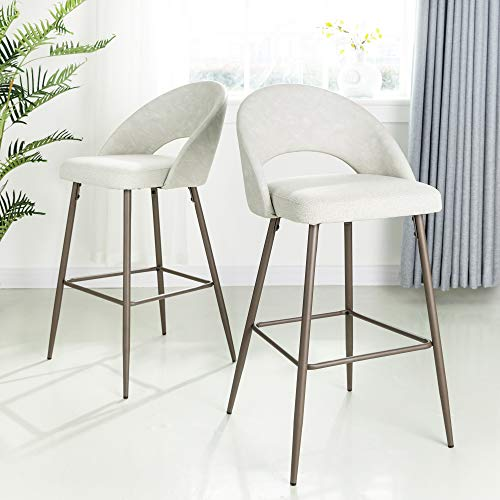 Glitzhome Bar Stools Modern Bar Height Fabric Leather Barstools with Back Contemporary Bar Stools with Metal Base Comfortable Dining Kitchen Pub Bar Chairs, Pale Gray