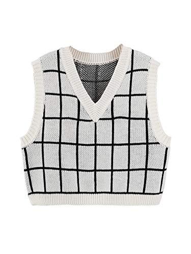 SheIn Women's V Neck Plaid Print Sweater Vest Sleeveless Rib-Knit Crop Tank Tops White Medium