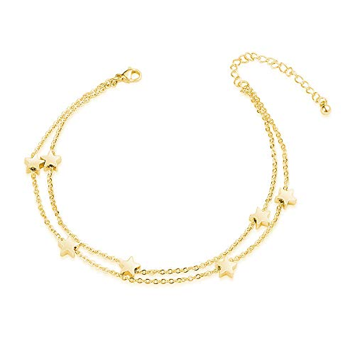 VU100 Dainty Cute Stars Anklets for Women 316L Surgical Stainless Steel Lucky Star Charm Beach Foot Barefoot Sandal Ankle Bracelet Adjustable (stars-gold)