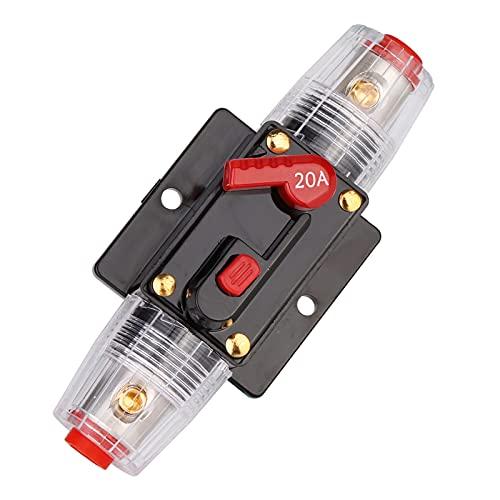 Mitening 12 V-24 V DC Interruttore di Circuito Portafusibile per Audio Automobile Inverter Solare, Interruttore per Auto Impermeabile di Riarmo Manuale in Linea, Protezione Sistema 20A