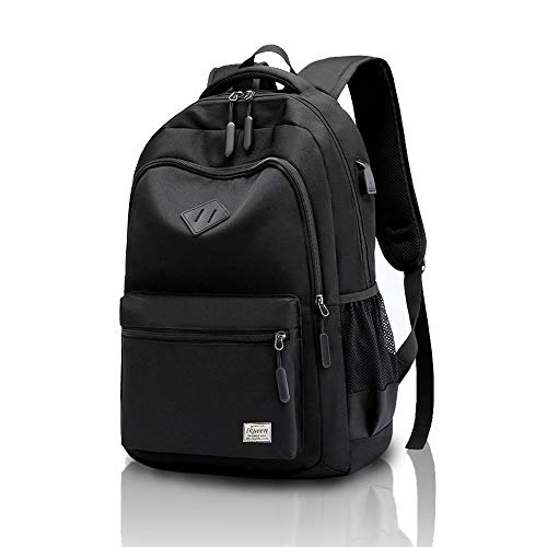 School Bag Waterproof Rucksack for Boys Girls Kids College Travel Laptop Backpack with USB Charging Port Casual Daypack (Black)