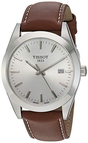Tissot mens Gentleman Stainless Steel Dress Watch Brown T1274101603100