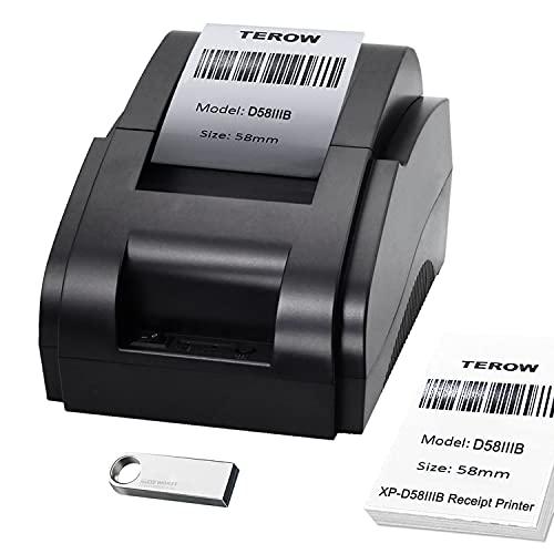 TEROW XP-D58IIIB Impresora de Recibos Mini Impresora térmica portátil de 58 mm Impresora POS de Escritorio USB Compatible con ESC/Pos Command Support Win 7/8 / Linux/Mac