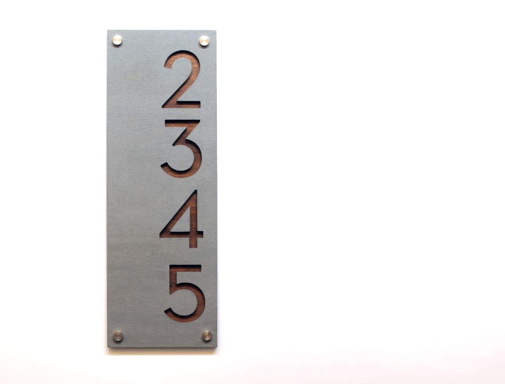 Modern House Numbers Concrete with 2021 model Dark Plywood Ve - Raleigh Mall Oak Marine