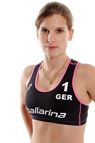 ballarina Beachvolleyball Player Top, schwarz-Fuchsia (S)