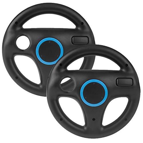 2 Stücke Mario Kart Wii Lenkrad,Beinhome Wii Racing Wheel Lenkrad für Nintendo Wii Spiele und Wii U Racing Spiele(Schwarz)