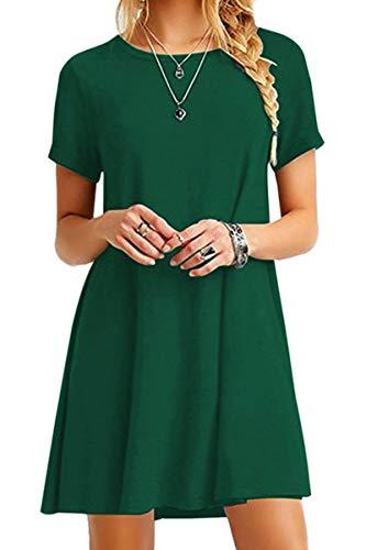 YMING Frauen Kleid Kurzarm Tunika Rundhals Lose T-Shirt Kleid Casual Basic Kleid Grün XL/DE 42