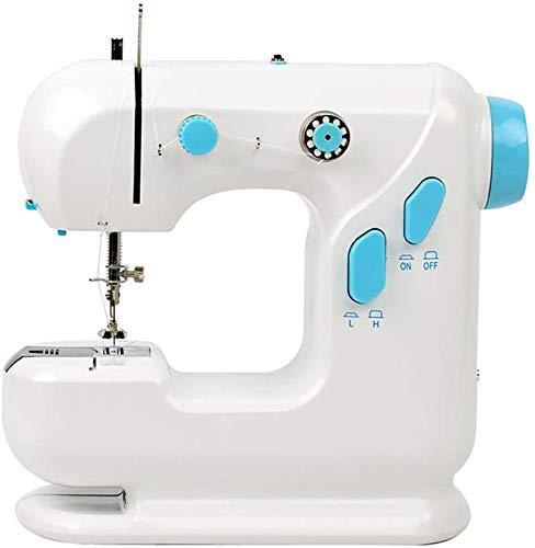 Máquina de coser portátil de dos velocidades con pedal, pequeña herramienta de costura para uso doméstico, mini cortaúñas de dos hilos portátil Machinel ligero, blanco
