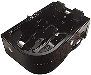 MCP-Distributions 2 Person Whirlpool Massage Hydrotherapy Black Corner Bathtub Tub with Bluetooth, FREE Remote Control and Water Heater