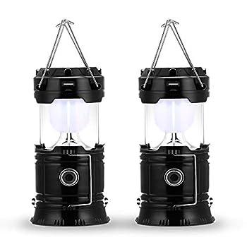Fulighture Lampe de camping à LED, prise et rechargeable solaire, avec batterie externe, étanche et coupe-vent, pour randonnée, camping, urgence, ouragan, pêche de nuit, IP66 étanche, pack de 2