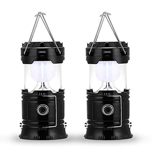 Fulighture LED Camping Lampe,Stecker und Solar wiederaufladbar, mit Powerbank,tragbar & handlich,Wasserdicht und Winddicht,für Wandern,Notfall,Nachtfischen,IP66 wasserdichte,2 Stück [Energieklasse A+]