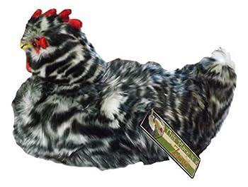 Speckled Black & White Plush Laying Hen - 10  Stuffed Animal Nesting Chicken w/Cavity