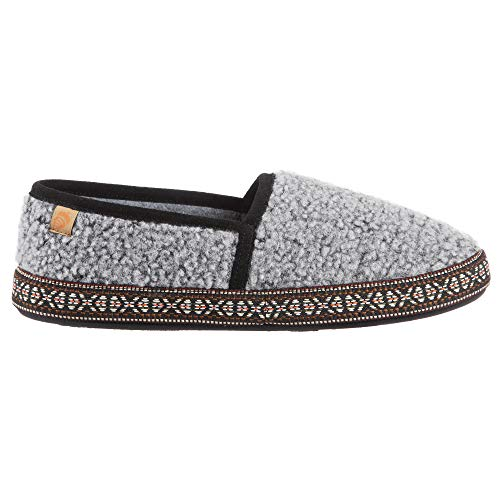Acorn Women's Woven Trim Moc Slipper, Stormy Grey, Medium Standard US Width US