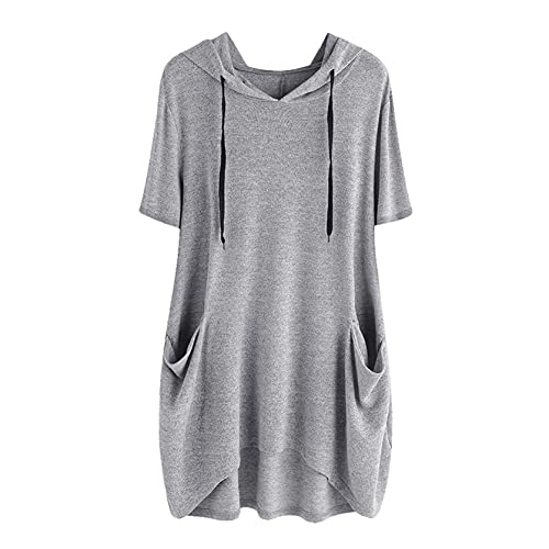 TWIFER Asymmetrisch Sommer Damen T-Shirt Casual Gedruckt Kurze Ärmel Seitentasche Mit Kapuze Unregelmäßige Top Bluse Shirts