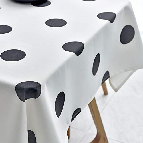Générique Tischdecke, wasserfest und ölfest, Schwarze Punkte auf weiß., 130 * 180