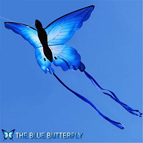 YO-HAPPY So schöner Blauer Schmetterlingsdrachen Outdoor-Spaßdrachen mit 30m Linie Kinderspielzeug Sommersport