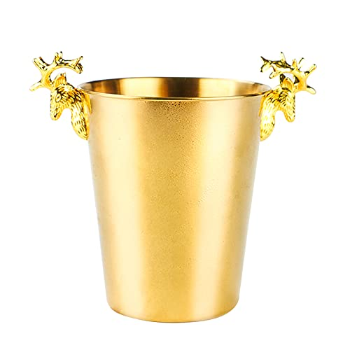 LTLWSH Cubitera Hielo de Acero Inoxidable, Creatividad Cubitera Ideal para Hielo, Cubitera Profesional para Bebidas y Alimentos,Oro,3L