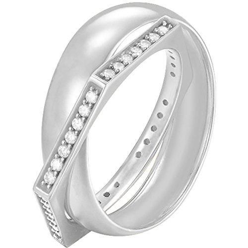 Joop! Damen-Ring JP-Edged 925 Silber Zirkonia weiß Gr. 57 (18.1) - JPRG90779A570