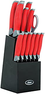 Oster 81006.14 Lindbergh 14 Piece Stainless Steel Cutlery Black Block Set, Red Handles