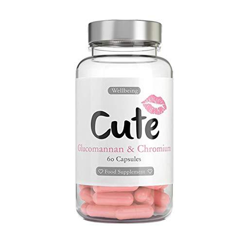 Cute Nutrition Glucomanano y Cromo con Fibra Natural para Quemar Grasa Píldoras de Dieta Seguras Efectivas y Fáciles de Tragar 60 cápsulas