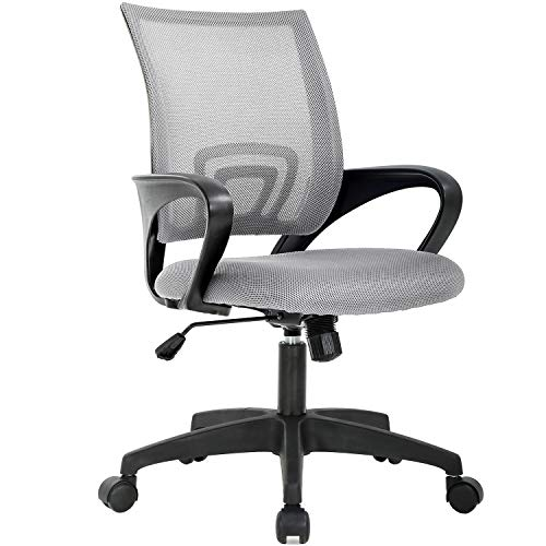 Home Office Chair Ergonomic Desk Chair Mesh Computer Chair with Lumbar Support Armrest Executive Rolling Swivel Adjustable Mid Back Task Chair for Women Adults (Grey)