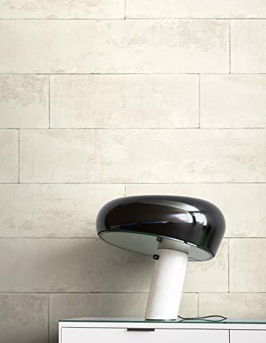 NEWROOM Tapete Weiß Vliestapete Stein - Steintapete Modern Creme Grau Beton Klinker Steinoptik Industrial Backstein Steinmauer inkl. Tapezier-Ratgeber