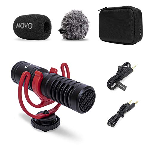 Movo VXR10-PRO External Video Microphone for Camera with Rycote Lyre Shock Mount - Compact Shotgun Mic and Accessories Compatible with Smartphones and DSLR Cameras - Battery-Free DSLR Microphone