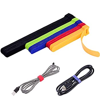 OneLeaf 60 Pcs Reusable Fastening Cable Ties with Hook and Loop Multi-Purpose Cable Straps Wire Ties Cable Management Adjustable Fastening Cord Ties for Computer/TV/Electronics 3 Sizes and 5 Colors