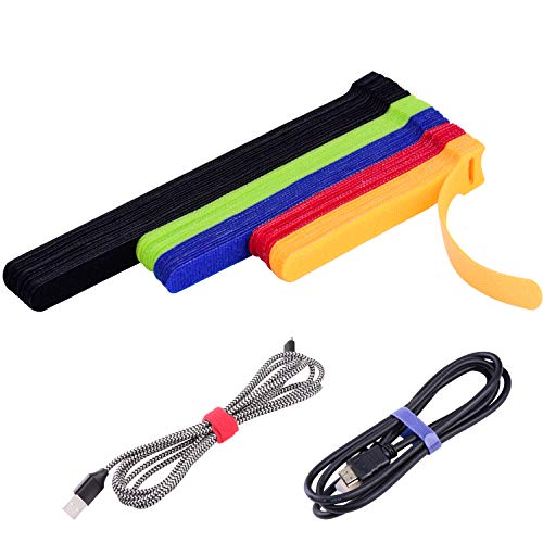 OneLeaf 60 Pcs Reusable Fastening Cable Ties with Hook and Loop MultiPurpose Cable Straps Wire Ties Cable Management Adjustable Fastening Cord Ties for Computer/TV/Electronics 3 Sizes and 5 Colors