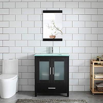 """30"""" Black Bathroom Vanity and Sink Combo MDF Wood Heighten Cabinet w/Mirror"""