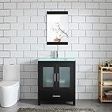 30' Black Bathroom Vanity and Sink Combo MDF Wood Glass Top w/Mirror Heighten