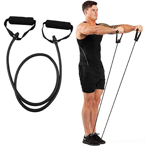 Corda di trazione in gomma ad alta resistenza, con maniglie; per fitness, casa, palestra, allenamento, Black