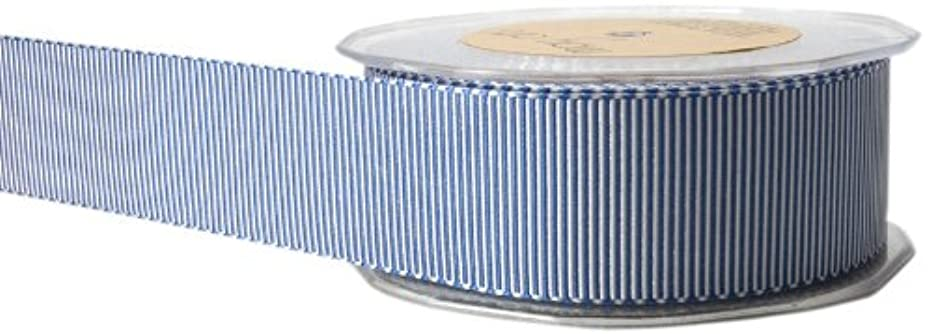 May Arts 1-1/2-Inch Wide Ribbon, Blue and White Grosgrain