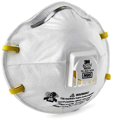 3M Particulate Respirator 8210V with Cool Flow Valve, Smoke, Grinding, Sanding, Sawing, Sweeping, Woodworking, Dust, 80/Pack