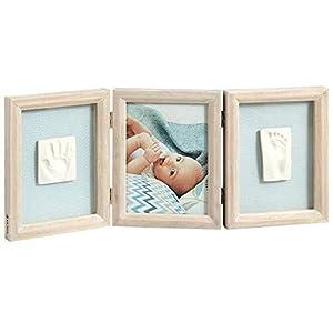 Baby Art My Baby Touch Set de Marco triple para fotos y 2 Huellas de bebé en Arcilla, Recuerdo de las huellas de mano y pie, color madera Stormy